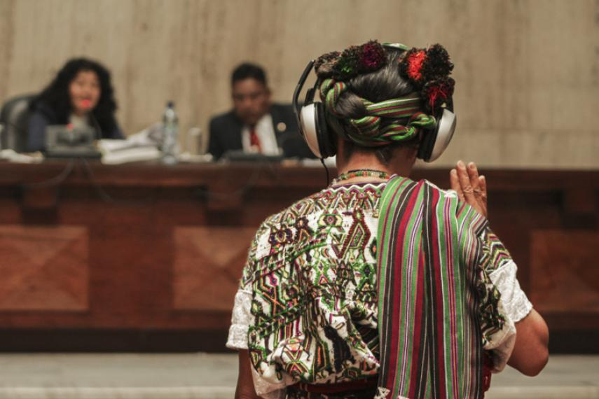 A Maya Ixil woman testifies at a genocide trial in Guatemala City.