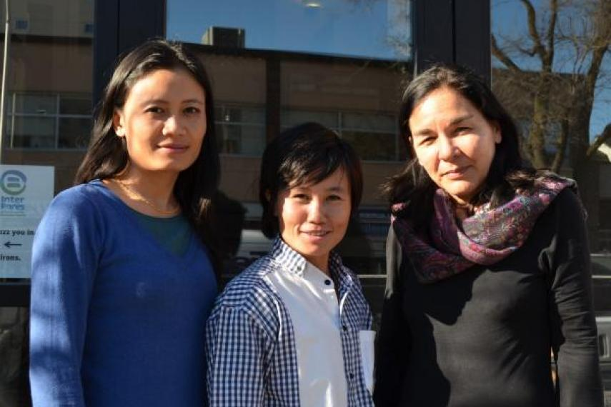 Burmese women's rights activists Wahkushee Tenner, Htwe Htwe and Pippa Curwen in Ottawa