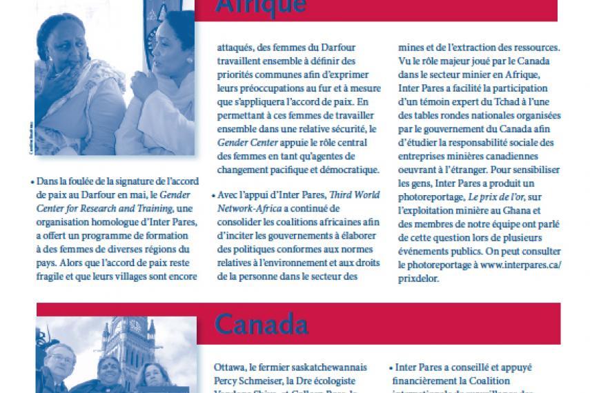 Page couverture des faits salliants 2006
