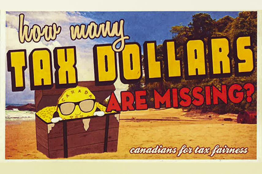 Postcard: The Canadians for Tax Fairness tax haven campaign.