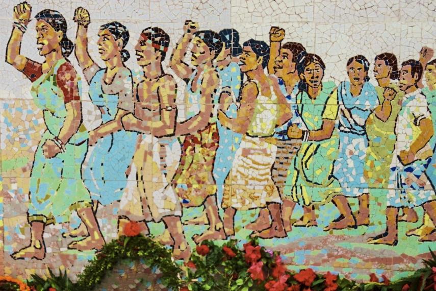 In Bangladesh: a memorial to murdered activist Korunamoyee.