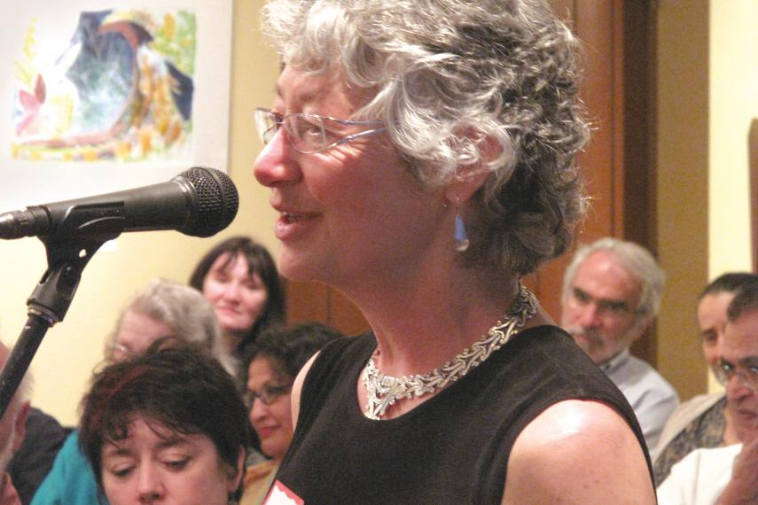 Cathleen Kneen engages panelists at Inter Pares' 2009 AGM.