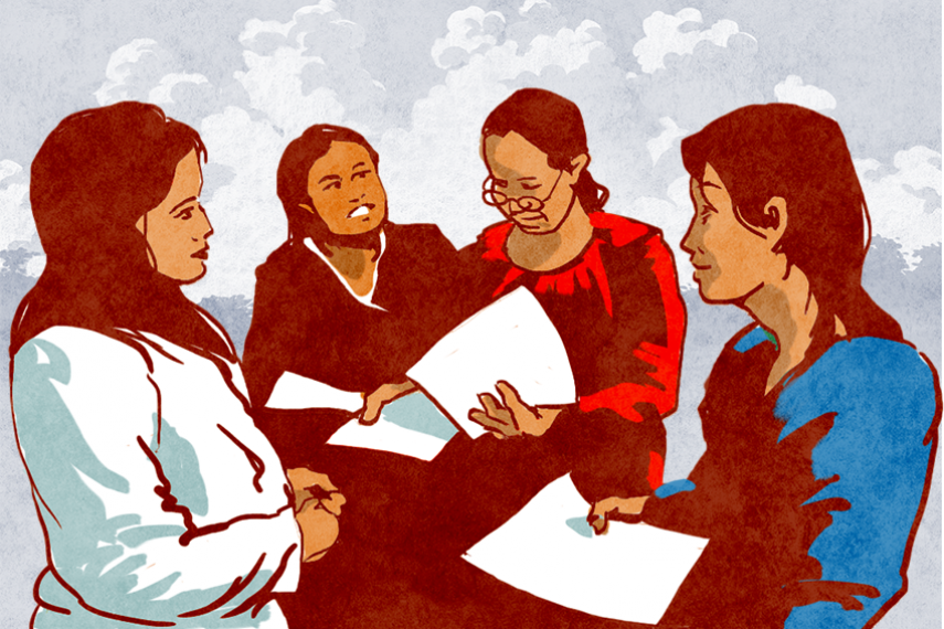 A group of illustrated women stand in a circle facing each other holding papers and discussing.
