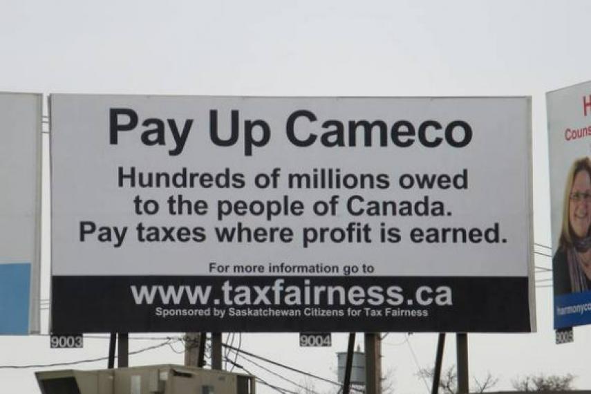 Saskatoon billboard about Cameco's tax dodge