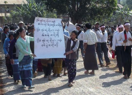 Karenni State: Villagers carry their petition for the closure of an army training centre built on stolen land.