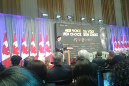 Prime Minister Justin Trudeau announces significant funding for women's sexual and reproductive health and rights at an International Women's Day panel in Ottawa, March 8th 2017.