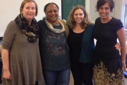 Beth Woroniuk (militante féministe pour la paix), Dre Asha El-Karib, Rebecca Tiessen (professeure à l'Université d'Ottawa) et Rita Morbia (directrice générale d'Inter Pares).