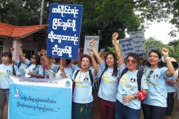 Women's march in the street of Burma