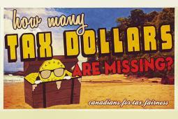 Carte postale de la campagne sur les paradis fiscaux de Canadiens pour une fiscalité équitable.
