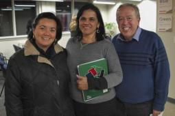 Coalition at its best: Julia Sánchez of the Canadian Council of International Cooperation, Mayra Alarcón of Project Counseling Service, and Bill Fairbairn of Inter Pares at a public event on Guatemala