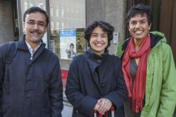 De gauche à droite: Afsar Jafri de Focus on the Global South, Sanya Reid Smith de Third World Network, et Rita Morbia, member du personnel d'Inter Pares.