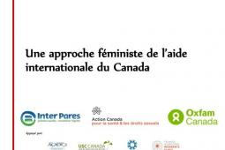 "couverture du document ""Une approche féministe de l'aide internationale du Canada"""