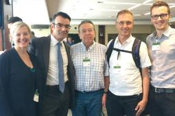 (L-R) Rachel Vincent of Nobel Women's initiative, James Cavallaro, Bill Fairbairn from Inter Pares, Jim Hodgson from the United Church of Canada, and Guillaume Charbonneau from Inter Pares.