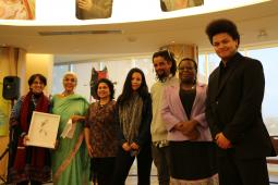 Members of CCMW pose with members of Peter Gillespie's family at the presentation of the 1st Peter Gillespie Social Justice Award. L-R: Farhat Rehman, Alia Hogben, Fauzya Talib, Lexxus Gillespie, Letso Gillespie, Lulama Tobo-Gillespie, Kagiso Gillespie.