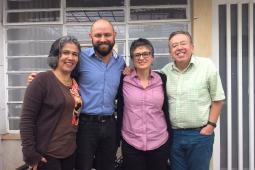 Mildrey Corrales (PCS), Mauricio Albarracín and Marcela Sánchez (both Colombia Diversa) with Bill Fairbairn.
