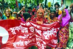 Des femmes membres des groupes de paysans sans terre de Charbata, au Bangladesh.