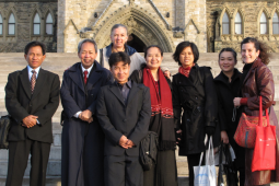 Taken on the front steps of Parliament in Ottawa – a delegation organized together with Rights and Democracy. Guests included staff the National Coalition Government of Burma, Mae Tao Clinic, Shan Women's Action Network and the Karen Women's Organization.