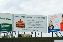 A billboard in Saskatoon