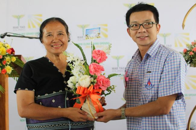 Dr. Cynthia Maung is congratulated for her work at the grand opening of the new expanded facilities of Mae Tao Clinic, May 28, 2016.