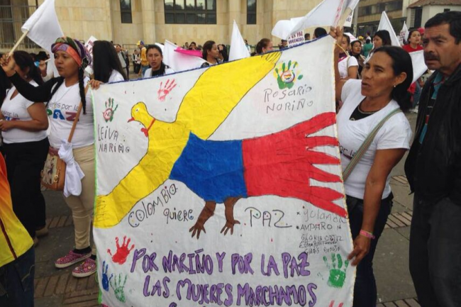 Demonstrators for peace in Bogota, Colombia