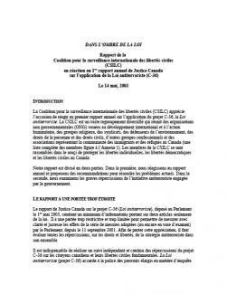 Page couverture du rapport 2003