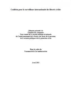 Page couverture de la presantation 2005