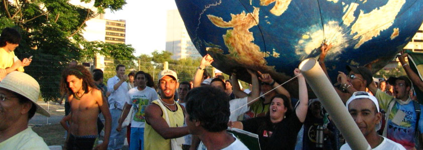 Demonstration with giant globe